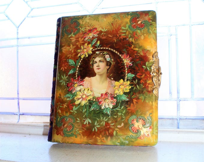 Antique Photo Album Celluloid & Velvet Cover For CDV and Cabinet Cards