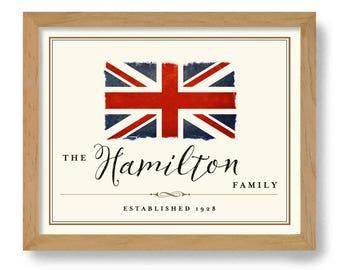 English Name Art England Gift British Heritage English Family Name Union Jack Flag Establish Date Personalized Family Name English Tradition
