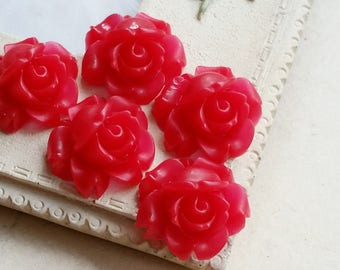 15 mm Red Colour Shrub Rose Resin Flower Cabochons (.sa)(ZZB)