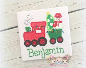 Boys Christmas shirt - Christmas train shirt - Holiday train shirt with snowman and Christmas tree - personalized 1st Christmas shirt