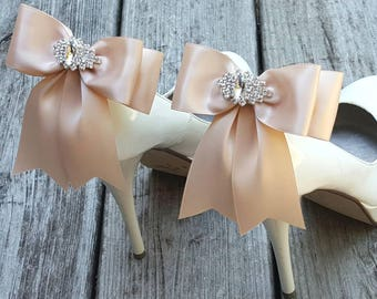 BLUSH Wedding Shoe Clips,Bridal Shoe Clips,  MANY COLORS, Satin Bow Shoe Clips, Womens, Bridesmaids, Clips  Wedding Shoes, Bridal Shoes