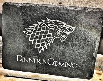 Game of Thrones Design 'Dinner' Slate Chopping Board / Placemat / Cheeseboards / Serving Platters - Novelty Gift for GOT Fans