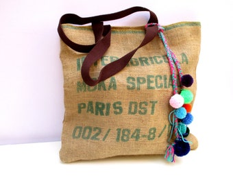 Repurposed tote bags, recycled, made from repurposed coffee bean sacks, handmade, eco friendly, one of a kind, shoppers bag