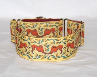 """2"""" Martingale Dog Collar Bowing Greyhounds - Rust, Gold & Blue"""