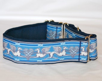 "2"" Martingale Dog Collar Greyhound Angels & Hearts - Blue"