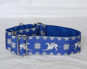 "2"" Martingale Dog Collar Greyhound Angels - White on Blue"