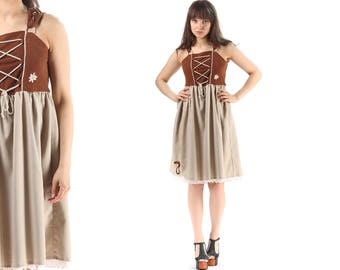 German DIRNDL Dress OKTOBERFEST 70s Mini Folk 1970s Brown Gray White Ethnic Vintage Jumper Pleated Small