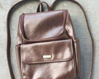 90s Vegan Faux Leather Mini Backpack Purse