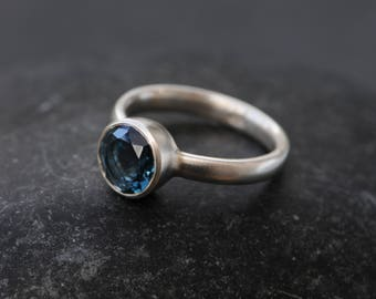 Blue Topaz Engagement Ring - London Blue Topaz Ring - Silver Blue Topaz Solitaire Ring - Sterling Silver - Made to order - FREE SHIPPING