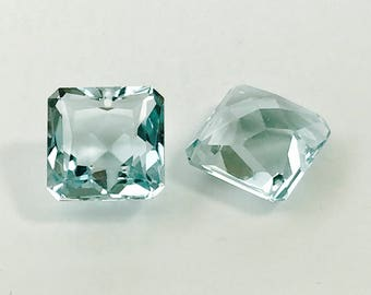 FINAL Sale 1 pair lab stoned sky blue topaz 14x14  mm  drilled top