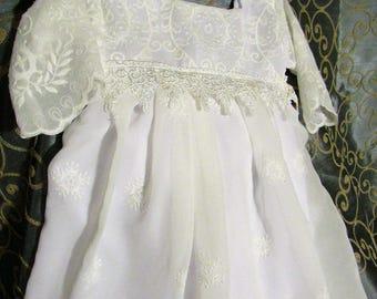 Christening dress, baptism gown, baby christening dress, baptism dress, lace baptism dress, long sleeve -Juliann style