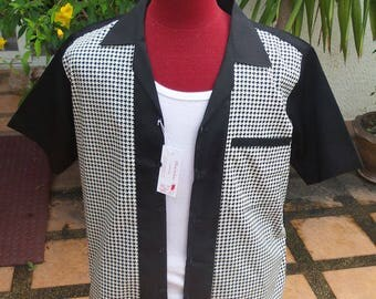 Handmade 1950's Style Mens Rockabilly, Vintage, Bowling Shirt Black & off white Houndstooth Shirt
