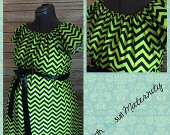 Memorial Day Sale! Maternity Hospital Labor Gown- green and black chevron. Black band