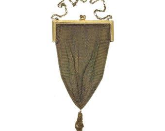 Antique Whiting & Davis Soldered Mesh Purse with Tassel // Vermeil Gold Washed German Silver Flapper Wristlet // Edwardian Chatelaine