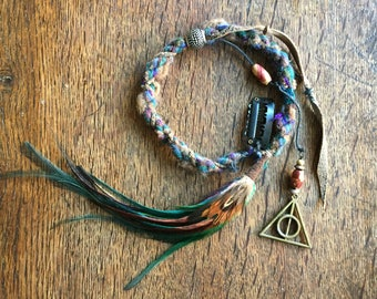 Hippie Hair Wrap//Dreadlock Extensions//Silk and wool hair wrap//Feather Hair Extensions//Feather Hair Clip//Hippie Hair Wrap//Festival Wear