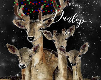 Reindeer Family Christmas Card - Pack of 5