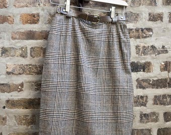 60s Brown Plaid Pencil Skirt with Belt +++ Amy Winehouse, secretary style +++ high waist (Size S)