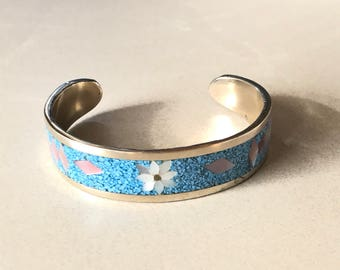 Vintage Alpaca Inlaid Mother Of Pearl and Turquois Chips