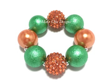 Toddler or Girls Orange and Green Chunky Bracelet - Pumpkin Chunky Bracelet - Fall bracelet - Girls Halloween Bracelet - Pumpkin Patch