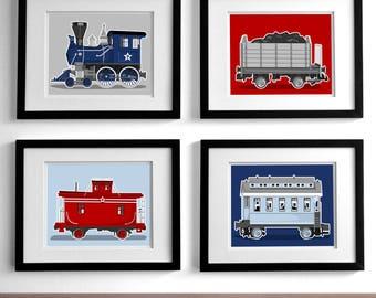Train nursery art - railroad art prints - set of 4 unfraramed childrens art prints - rail way steam engine nursery art prints for boys