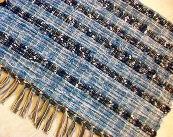 upcycled recycled denim blue  jeans  handmade loom woven rag rug  south dakota made