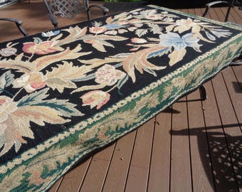 """Vintage Large Floral Hooked Area Rug in a great color palette combination in Vintage Condition which needs repairs or can be left """"As Is"""""""