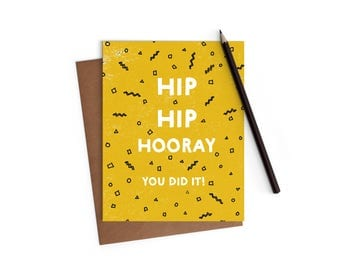 Congrats - Hip Hip Hooray Graduation Card - Funny Card - A2 Cards w/ envelope