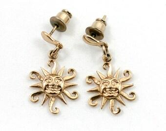 Vintage 1970s gold Aztec sun earrings, sunburst, stylized smiling sunshine, drop earrings, pierced dangle earrings, sunny craft charm