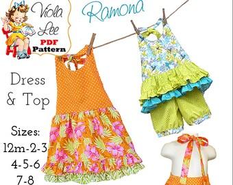 Ramona Girls Halter Top Pattern, Girls pdf Sewing Pattern. Girls Halter Dress Pattern, Toddler Dress Pattern. Girls Dress Pattern, Download