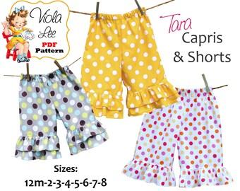 Tara Sewing patterns for Toddlers, Girls Ruffle Capris, Ruffle Shorts Sewing Pattern, Ruffle Pants Pattern. Girls pdf Sewing Patterns