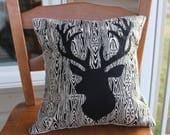 Deer Pillow, Winter Seasonal Pillow, Deer accent pillow, Deer on Wood Grain Pillow, New Rustic, Modern Farmhouse, gift for him, hunter gift