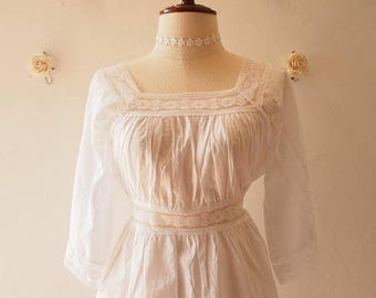 Mid Year SALE Marie Top - White Boho Style Top Elbow Sleeve Pretty Blouse Summer Blouse -Free size (US0-US8)