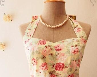 Mid Year SALE Yellow Sundress Vintage Floral Dress Tea Party Dress Halter Dress Vintage Summer Dress Floral Bridesmaid Dress
