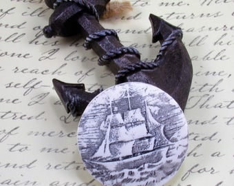 StudioStJames Artisan Crafted Polymer Clay 45 mm Focal Nautical Pendant Cabochon-Replica of Scrimshaw Art-Whaler Ship-White Black PA 100782
