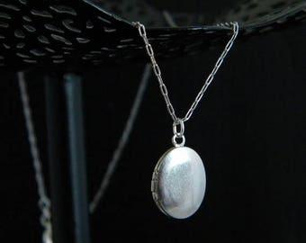 Petite Vintage Silver Oval Locket Necklace