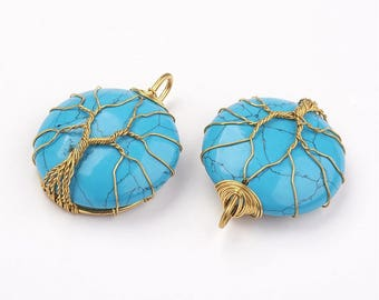 Natural Gemstone Gold Wire Wrapped Round Pendant - 1 PC