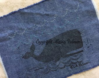 Handprinted Hand Carved Nautical Beach Ocean Whale on Denim Fabric Label Patch with Embroidery Stitched Wave Details Turquoise Aqua