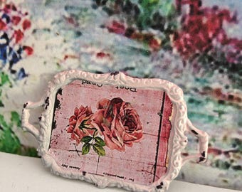 Dollhouse Miniature Shabby Chic Pink Vintage Metal Tray with Handles