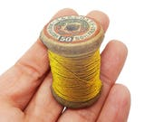 Yellow Cotton Reel Tailor Dress Maker Sewing Cross Stitcher Brooch Pin Badge Jewellery Gift For Her Stocking Filler Jewellery Accessories