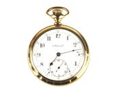 Antique Swiss Gold Pocket Watch, Clean, Very Good Timekeeping