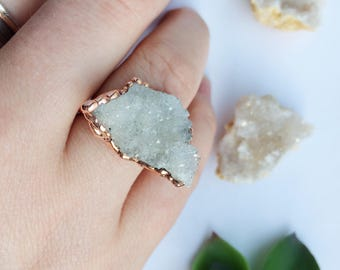 Druzy and Copper Ring, Druzy Ring,