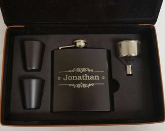 Personalized Leather Flask Set, Groomsmen Gift, Engraved Hip Flasks, Personalized Flask, Best Man, Wedding Party Gift