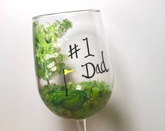 Free shipping Golfers hand painted personalizable wine glass for dad grandpa uncle brother in laws happy retirement