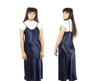 ON SALE Satin 90s Navy Blue Slip Dress, Sleeveless Maxi Slip, 90s Vintage Lingerie, 90s Boho, Grunge, Layering Dress, Women's Size Small/Med