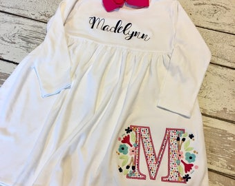 girls name dress, girls monogram dress, girls fall dress, toddler name dress, girls fall outfit, monogram girls dress, floral initial dress