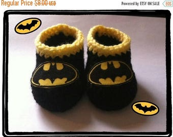 On Sale Batman Baby Booties, Batman Baby Shower Gift Newborn or 3 to 6 months, Handmade Crochet Made to Order