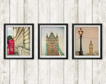 London print set /tryptic. Red telephone booth, Tower Bridge and Big Ben. London art, travel photography, urban decor, photo wall.