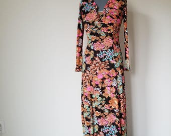 Vintage 1970's Long Black and Floral Hippie Maxi Dress