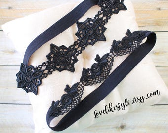 Black Lace Wedding Garter Set ,Black Soft Venice Lace Garter Set, Black Toss Garter ,Black Garter Belt