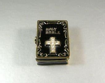 Enamel and Rhinestone Hinged Holy Bible Trinket Pill Box